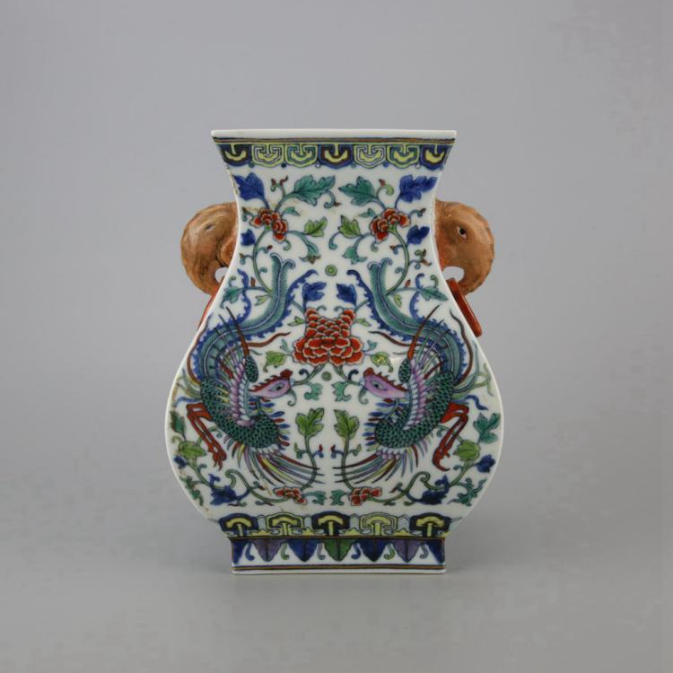 Chinese Doucai Porcelain Phoenix Vase