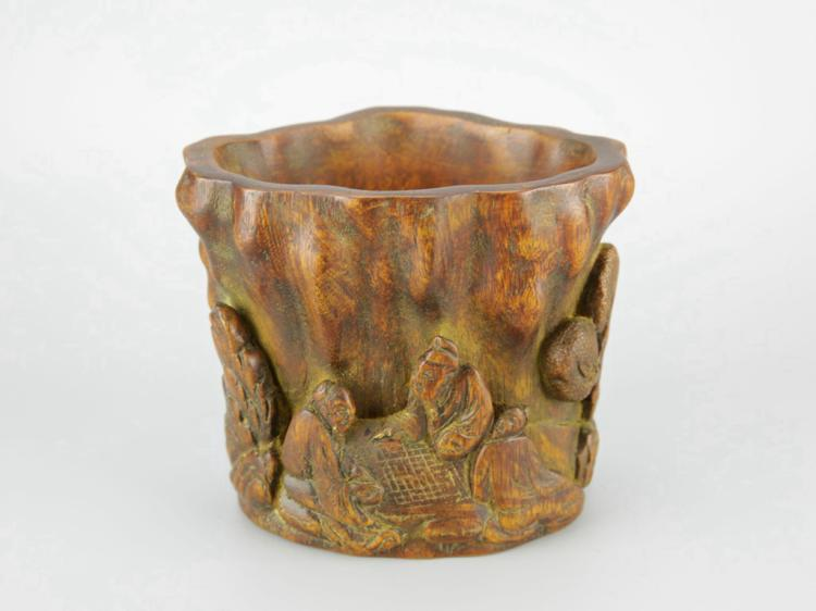 Chinese Eaglewood Carved Brush Pot