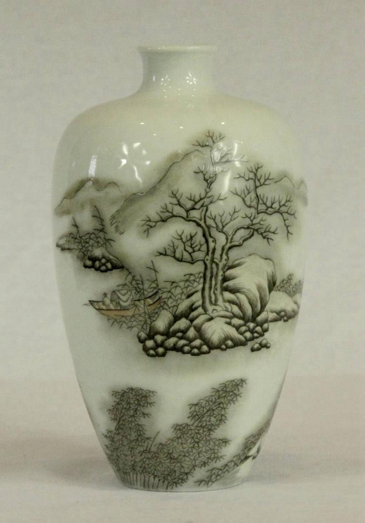 Vintage Chinese Grisaille Enamelled Porcelain Vase