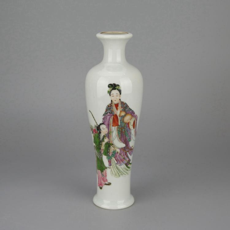 Chinese Polychrome Porcelain Bottle Vase