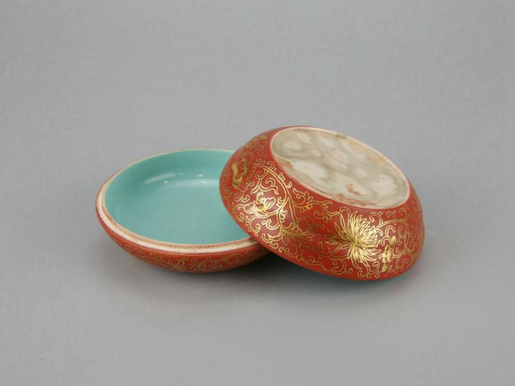 Chinese Gilt Coral Red Porcelain Box