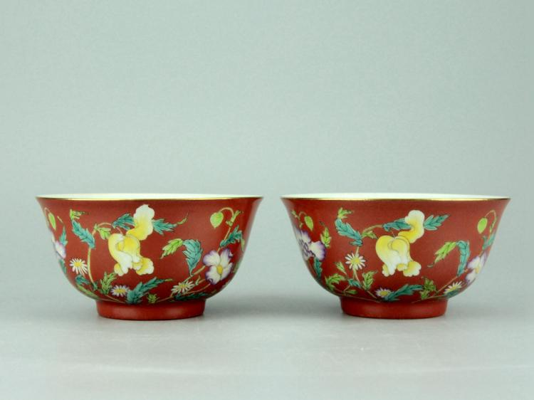 Pair of Chinese Famille Rose Porcelain Bowls (2)