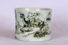 Chinese Grisaille Enamelled Porcelain Brush Pot