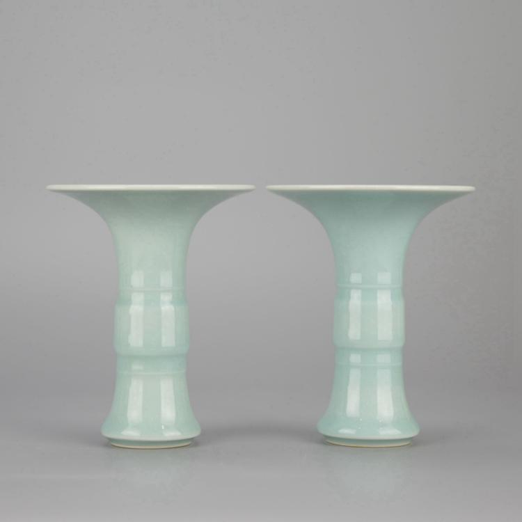 Pair of Chinese Celadon Porcelain Gu Vases