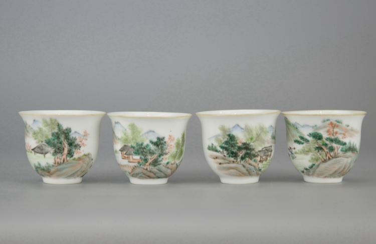 Four Set of Chinese Porcelain Tea Cups