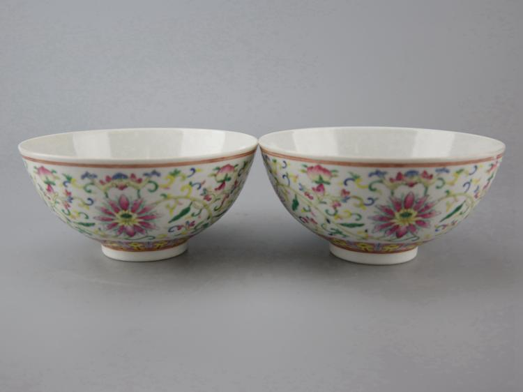 Pair of Fine Chinese Porcelain Bowls