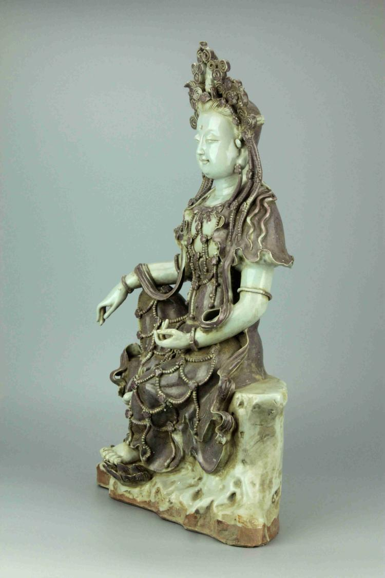 Large Chinese Porcelain Figure of Guan Yin