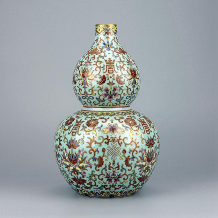 Chinese Famille Rose Double Gourd Porcelain Vase