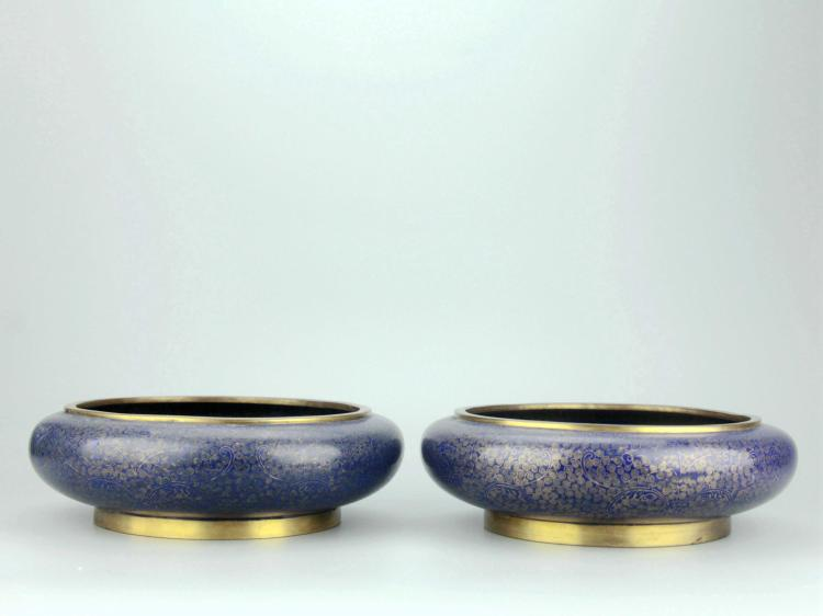 Pair of Chinese Cloisonne Enamel Water Pots