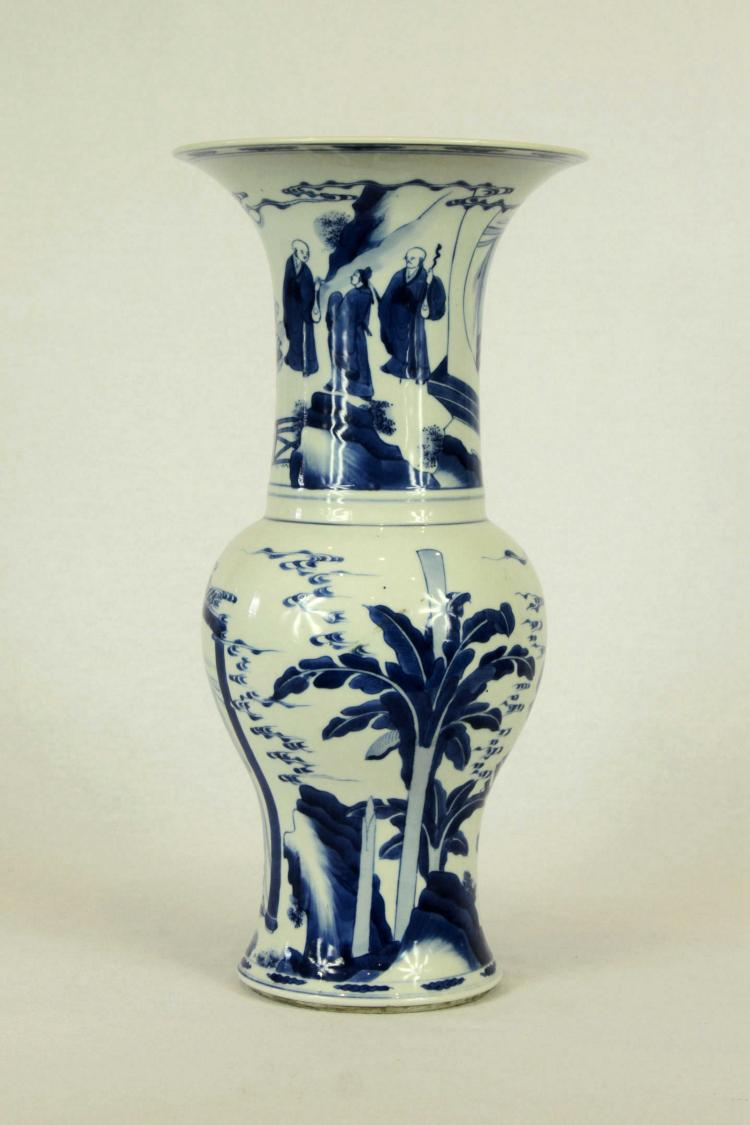 Chinese Blue and White Gu Form Porcelain Vase