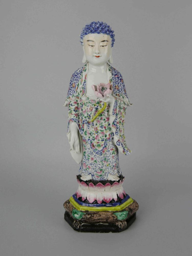 Chinese Famille-Rose Porcelain Figure of Buddha