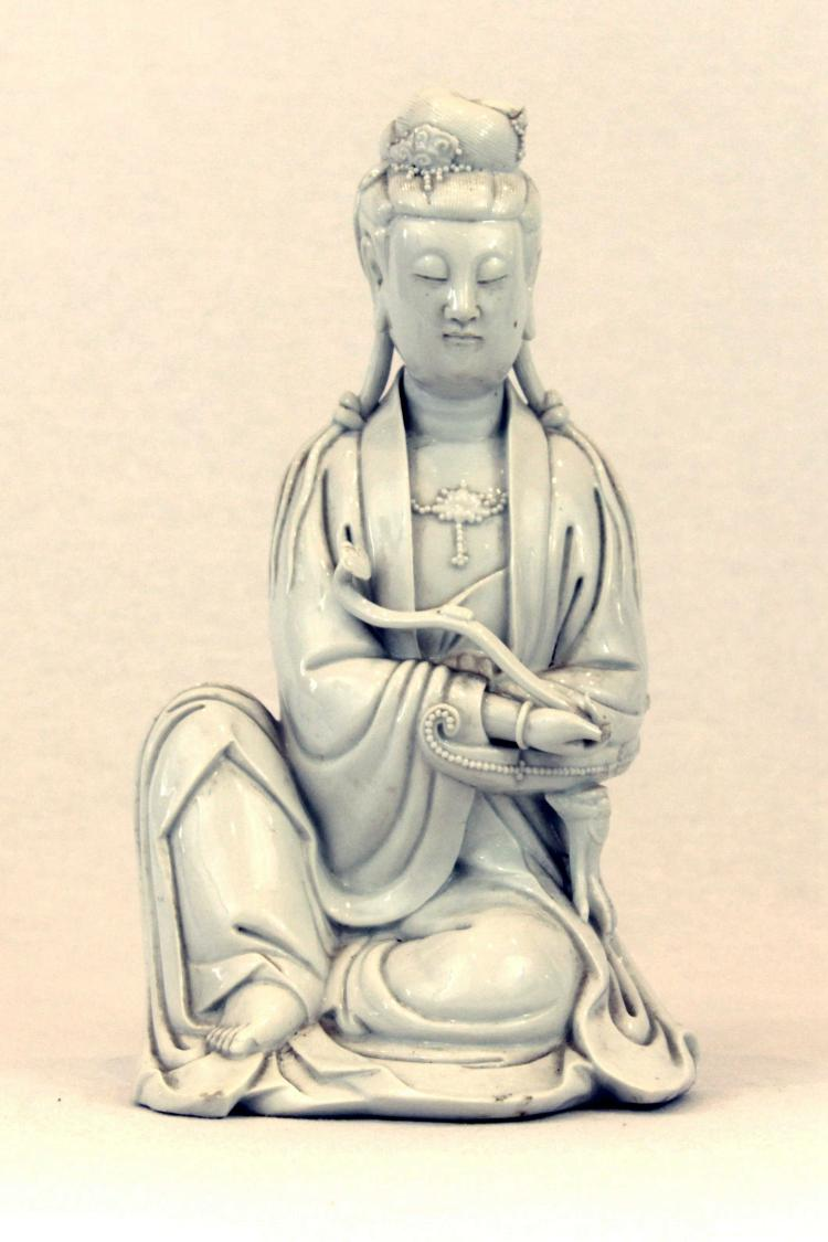 Chinese Blanc de Chine White Glazed Porcelain Figure of Guan Yin