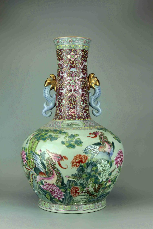 Large Chinese Polychrome Porcelain Vase