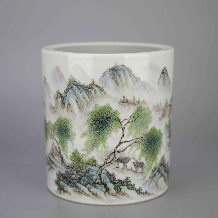 Chinese Polychrome Porcelain Brush Pot