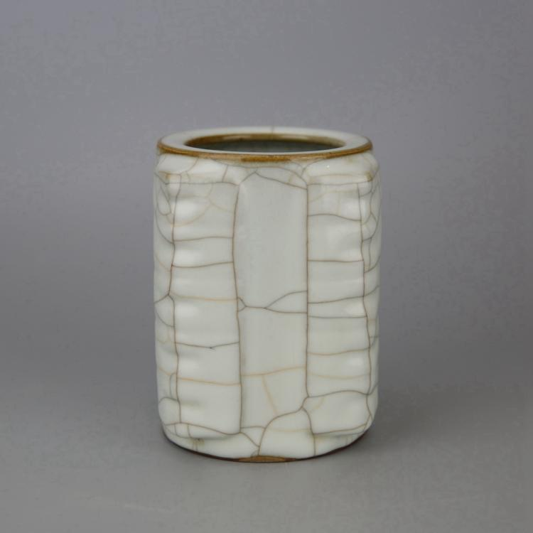 Chinese Crackle Glazed Porcelain Cong Style Vase