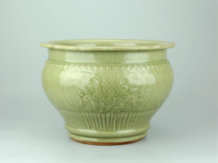 Chinese Celadon Glazed Porcelain Jardiniere