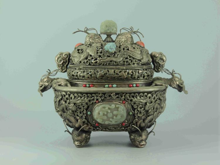 Chinese Silver Alloy Lidded Pots