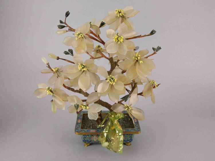 Chinese Cloisonne & Hardstone Jade Tree
