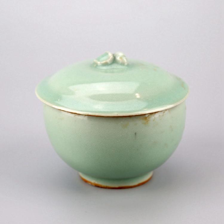 Chinese Pale Celadon Porcelain Lidded Cup