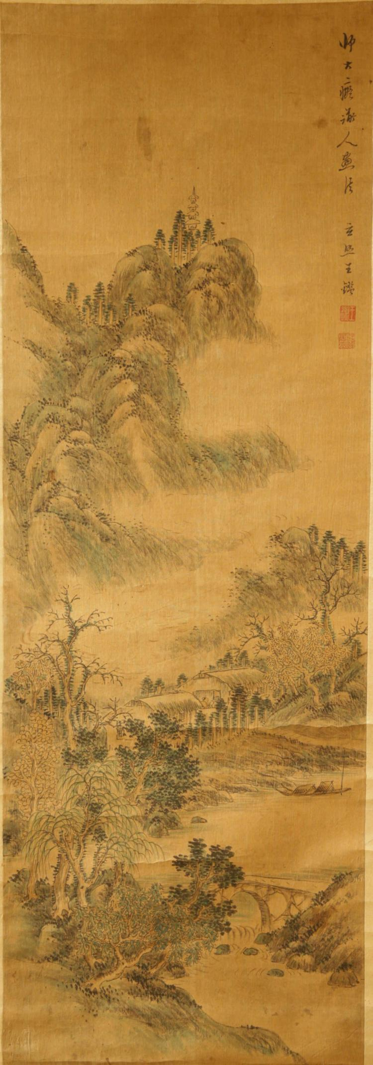 Chinese Scroll Painting Attributed to Wang Jian (1598-1677d
