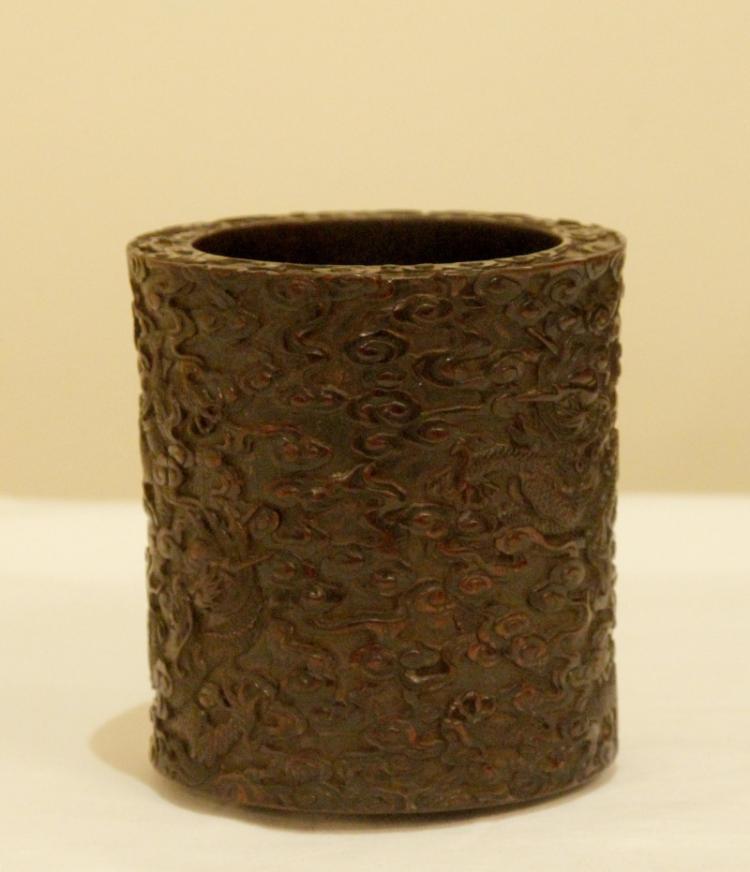 Fine chinese zitan brush pot for Chinese art furniture