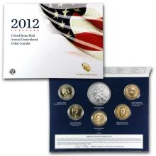 2012 United States Mint Annual Uncirculated Dollar Coin Set, has 2012 W Silver Eagle, (4) P Mint Presidential Dollars & D Mint Sacagawea Dollar