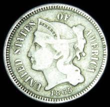 1865 Three Cent Piece, Very Fine Details, Civil War Period