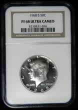 1968 S NGC PR68 ULTRA CAMEO Proof Silver Kennedy Half, 40% Silver