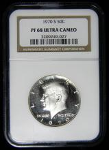 1970 S NGC PR68 ULTRA CAMEO Proof Silver Kennedy Half, 40% Silver