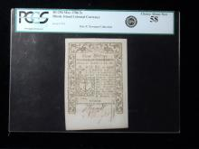 RI 294 May 1786 3s, Rhode Island Colonial Currency, From the Eric P. Newman Collection PCGS About New 58