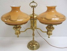 Ea. 20th C. Polished brass double student lamp