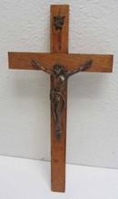 20th C. Bronze and wood crucifix