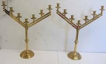 Pr. Bronze adjustable candelabras