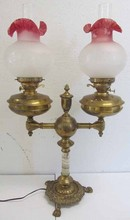 19th C. Bronze and onyx double student lamp