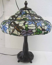 20th C. Hand leaded table lamp with dragonflies