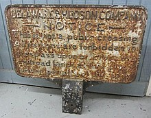 Delaware and Hudson Co. Railroad sign