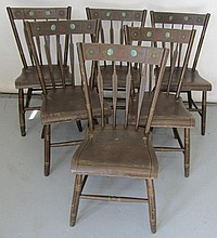 6 19th C. Paint decorated Arrowback chairs