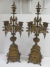Pr. Period 19th C. Dore bronze candelabras