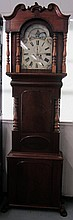 Period English burled mahogany grandfather clock