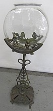 Rare C1900 Iron figural fish tank with cupids