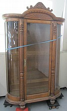 Large Quartersawn oak curve glass china cabinet
