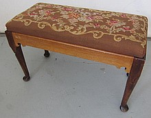 C1900 Queen Ann style needlepoint vanity stool