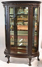 C1890 Quartersawn oak bow glass china cabinet