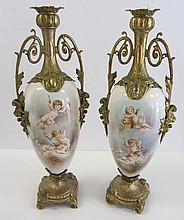 Pr. 19th C. Bronze mounted handpainted Sevres urns