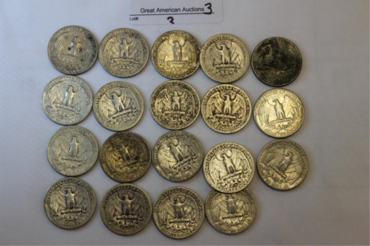 Multiable Date Quarters Multiple dates on Washington Quarters. Please look at photos.  Please look at photo if you need more photos please ask. We will do our best to get them to you.  If you need any more info, please give lot number and Auction when