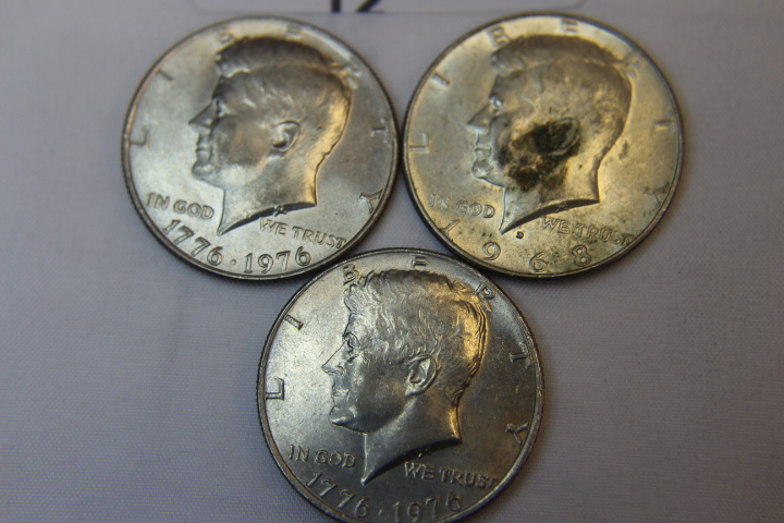 3 Bicentennial Kennedy Half Dollars