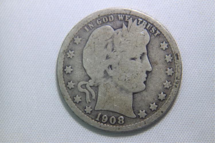 1908 O Barber Quarter 1908 D Barber Quarter