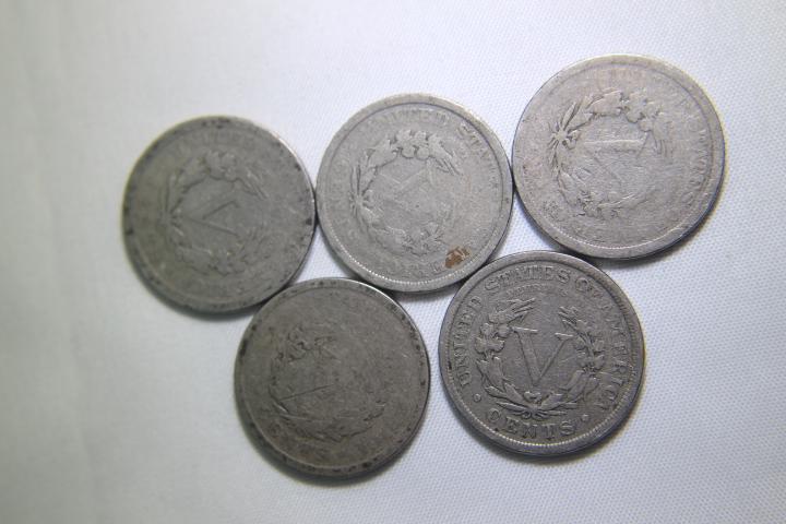 5 - V Nickels 1 - 1904 3 - 1906 1 - 1907
