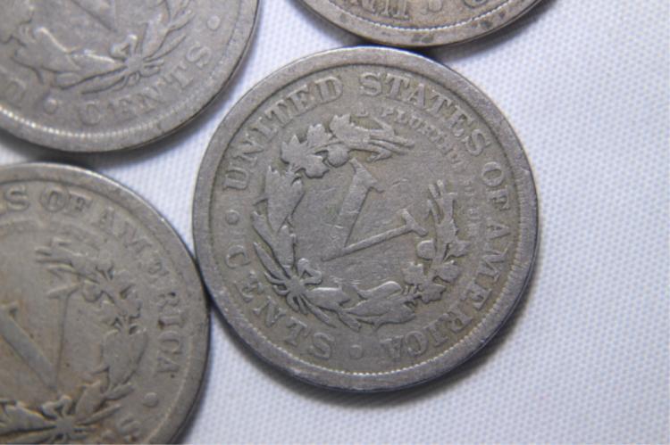 5 V Nickels 2 - 1908 1 - 1909 2 - 1910