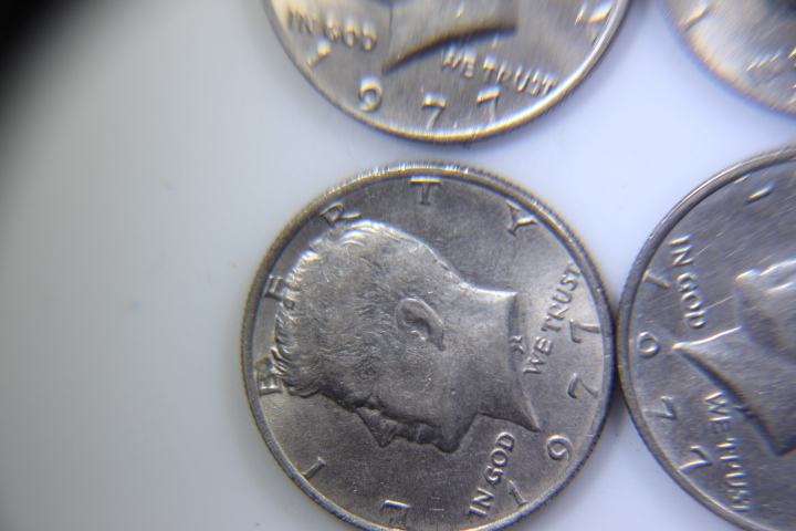 1977 Kenedy Half DOllar 5 1977 Kenedy Half Dollars no mint mark in Great Shape